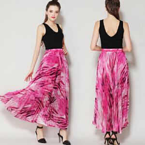 RANJU 然聚2018女装夏季新品新款 欧美度假风花色雪纺百褶系带半身裙