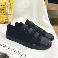 夏季帆布鞋男士一脚蹬懒人鞋纯黑色透气布鞋低帮休闲男鞋小伙潮鞋