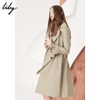 Lily2018春新款女装商务通勤双排扣系腰中长款风衣118120C1602