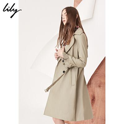 【超级会员节 每满200减100】Lily2018春新款女装商务通勤双排扣系腰中长款风衣118120C1602收腰版型,系带造型,荷叶袖口