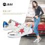 jm快乐玛丽秋季新款平底系带星星板鞋低帮小白鞋休闲鞋