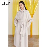 【新春特惠 秒��r:593】LILY�羊毛�p面呢�L款大衣��松毛呢外套女119420F1508
