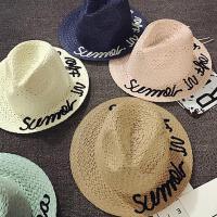 儿童草帽夏天小礼帽遮阳帽男女童防晒帽太阳帽沙滩帽宝宝帽子韩版