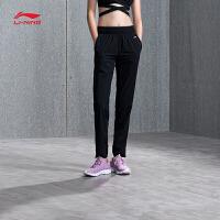 李宁运动裤女士2018新款跑步系列长裤薄款女装春季收口梭织运动裤AYKN004