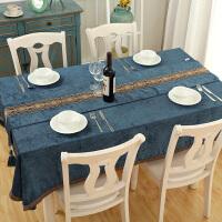 欧式茶几长方形蓝色桌布布艺小清新餐桌布正方形客厅家用桌旗台布