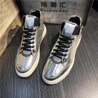 快手红人同款男鞋高帮一脚蹬韩版休闲鞋社会小伙欧洲站个性板鞋潮 银色 个性