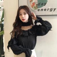 气质唯美韩版简约修身显瘦百搭潮流可爱2018年春季蕾丝衫/雪纺衫套头 均码