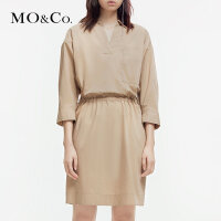 MOCO2019夏季新品抽绳松紧腰翻领衬衫连衣裙MAI2DRS031 摩安珂