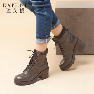 达芙妮女靴秋冬季时尚女鞋圆头粗高跟英伦风短靴系带英伦马丁靴女