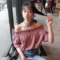 原宿bf一字肩上衣夏港风chic格子衬衫女可爱领学生韩版甜美小清新