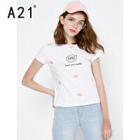 以纯线上品牌a21 2017夏装新款T恤女甜美印花舒适女装圆领短袖上衣