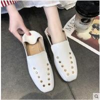 英伦风深口单鞋女粗跟百搭潮款新款方头中跟小皮鞋铆钉女鞋子