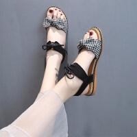 女士配裙子的女鞋户外时尚百搭仙女风平底蝴蝶结凉鞋