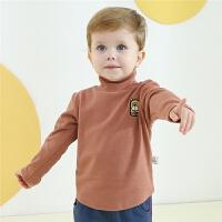 宝宝半高领打底衫婴幼儿卡通长袖T恤男女童秋装内搭上衣