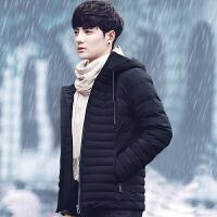 男士棉衣新款韩版修身潮流短款帅气加绒加厚衣服冬季外套男装 黑色 M