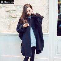 毛呢外套女秋冬季中长款学生韩版宽松百搭风衣小个子双面呢子大衣 黑色
