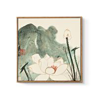 新中式装饰画水墨禅意中国画客厅沙发背景墙三联壁画餐厅挂画荷花 70x70cm嵌框_三幅适合3~3.8米沙发 单幅