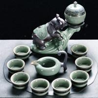 汝窑半自动功夫茶具套装创意复古开片茶杯茶壶旋转懒人礼品泡茶器送父亲送朋友