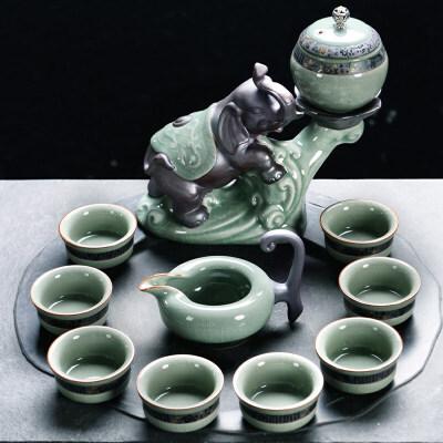 汝窑半自动功夫茶具套装创意复古开片茶杯茶壶旋转懒人礼品泡茶器送父亲送朋友 本产品为定制产品,页面品牌等参数均仅供参考,并非实物,默认拍下的为同意页面中描述