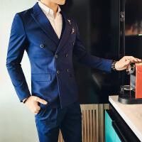 17秋冬新品韩版男士礼服西服单西神秘蓝个性双排扣纯色修身西装