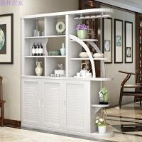 间厅柜实木玄关柜隔断柜橡木小户型现代中式双面酒柜家用客厅家具 组装
