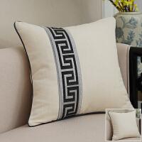靠垫女王 新中式棉麻色条纹沙发抱枕靠枕座椅靠垫腰枕靠背含芯J 黑条纹左拼 白 60X60cm 外套+内芯