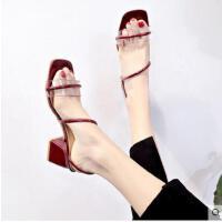 拖鞋女新款时尚女鞋一鞋两穿粗跟一字带凉鞋女高跟鞋