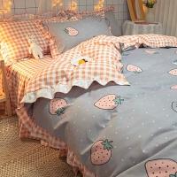 韩式少女床上用品四件套田园床单被套水洗棉床裙三件套网红小清新