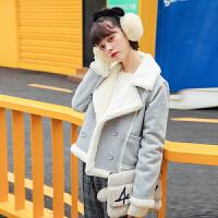 短款外套女20秋冬新品上衣女装韩版鹿皮仿兔绒翻领加厚潮