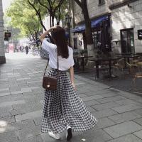 港味chic黑白格子高腰半身裙春女2018新款学生宽松包臀裙a字长裙 黑白格子
