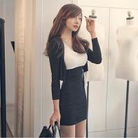 春秋韩版小香风性感修身紧身包臀连衣裙 黑白拼色针织两件套装女