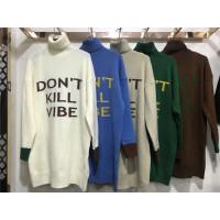 U3毛衣女冬中长款字母高领宽松打底衫韩版套头长袖针织衫加厚0.55