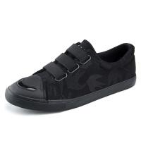 男鞋子黑色一脚蹬懒人帆布鞋男士休闲鞋韩版板鞋松紧带布鞋潮鞋子