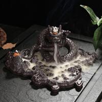 ????大号创意陶瓷倒流香炉摆件卧室内家居紫砂沉檀香熏盘流烟塔线香插