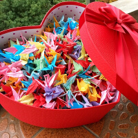 桃心礼品盒爱心形礼盒生日礼物包装盒子大红星星千纸鹤大号礼物盒 +礼品袋