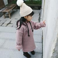 童装秋冬季加绒加厚韩版卫衣女童字母加绒连衣裙179880