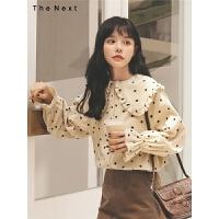 波点灯芯绒衬衫2019冬季新款女娃娃领长袖韩版宽松设计感小众上衣