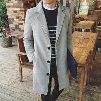 秋冬毛呢大衣男韩版修身中长款单排扣风衣青年潮流学生百搭外套潮