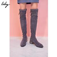 【不打烊价:167.7元】 Lily冬女装时尚OL系带布长靴黑色显瘦靴子117410JZ802