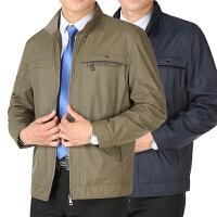 中年男士夹克衫薄款休闲外套商务春秋季中老年立领男装爸爸装上衣