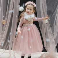 韩国童装女童连衣裙冬装儿童公主蕾丝表演服加绒新年礼服长裙