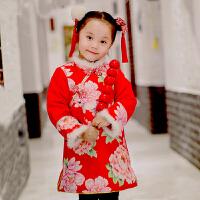 桐花坞儿童唐装女童旗袍冬季长袖汉服宝宝唐装喜庆过年装 红色 花团锦簇-红