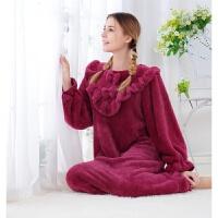 女士秋冬加厚保暖珊瑚绒长款宽松可爱韩版不褪色不掉绒公主睡裙衣 玫瑰紫色