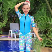 儿童游泳衣女童泳衣连体学生运动泳衣 新款儿童泳衣女大童泳衣 深蓝色 粉边