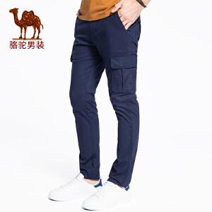 骆驼男装 2018春季新款时尚青年棉质直筒中腰宽松休闲裤长裤男