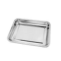 加厚304不锈钢托盘长方形蒸肠粉蒸饭方盘烤鱼盘饺子盘烧烤铁盘子