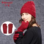 女士羊毛手套冬季时尚加绒保暖五指毛线手套户外加厚分指针织手套2809
