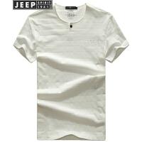 JEEP吉普男短袖t恤纯色圆领休闲青年夏季T恤男士半截袖男装体恤打底衫