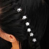 高亮单珍珠插针大钻锆石镶嵌插针型小发簪新娘节庆盘头饰品六只 单锆石插针 6只一组
