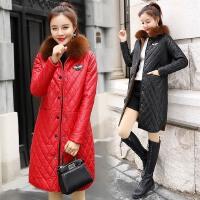 冬装新款显瘦pu皮棉衣女中长款韩版时尚修身大毛领加绒外套潮